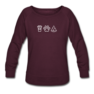 Coffee, Pets, & Pizza | Sweatshirt | Women - plum