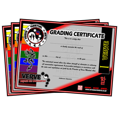 VERVE Coloured Belt Student Certificate