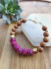 Load image into Gallery viewer, Fuschia Bone Bead Bracelet