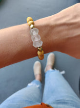 Load image into Gallery viewer, Palo Santo and Pink Recycled Rose Glass Bracelet