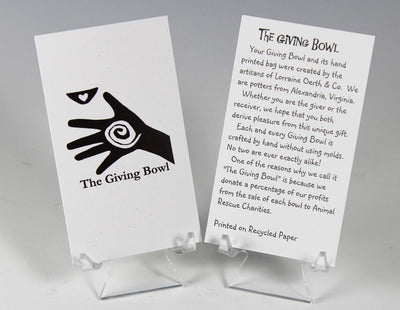 The card included with Oerth's Giving Bowls explains that this gift offers a heartfelt message.