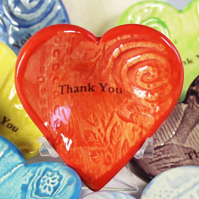 "Lorraine Oerth Giving Heart ""Thank You"" in coral glaze"