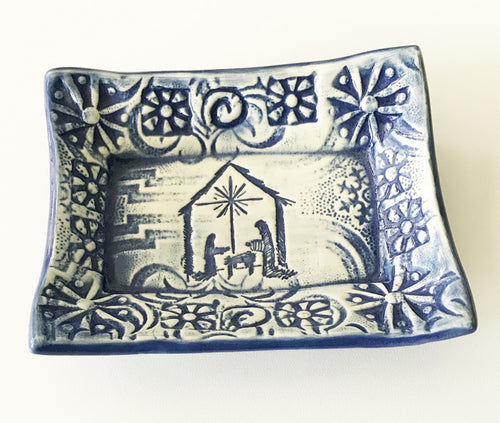 Cute Little Soap Dish - Nativity in Delft Blue