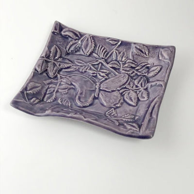 Butterfly Tray Purple Glaze by Lorraine Oerth