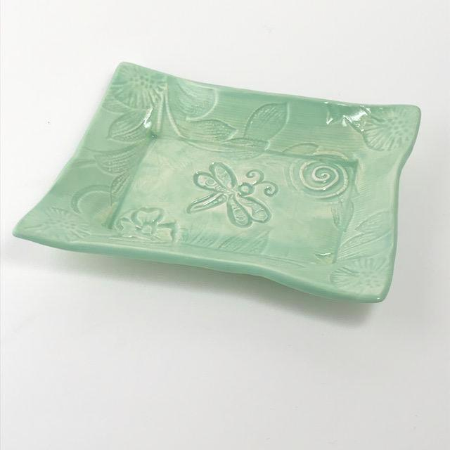 Lorraine Oerth pottery tray with dragonfly design