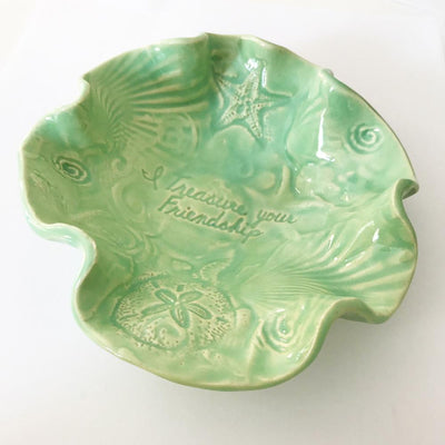 "Treasure Bowl Starfish & Sand Dollar - ""I Treasure Your Friendship""  Spa Green Glaze"
