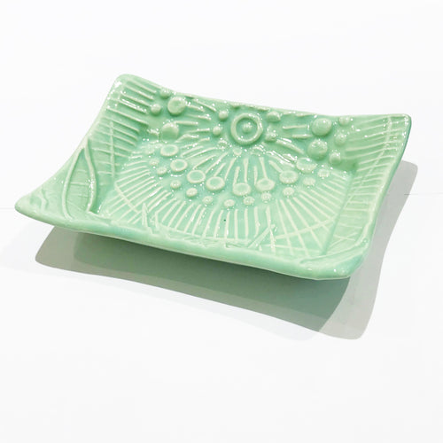 Cute Little Soap Dish - Floral Fantasy in Spa Green - Stock Colors