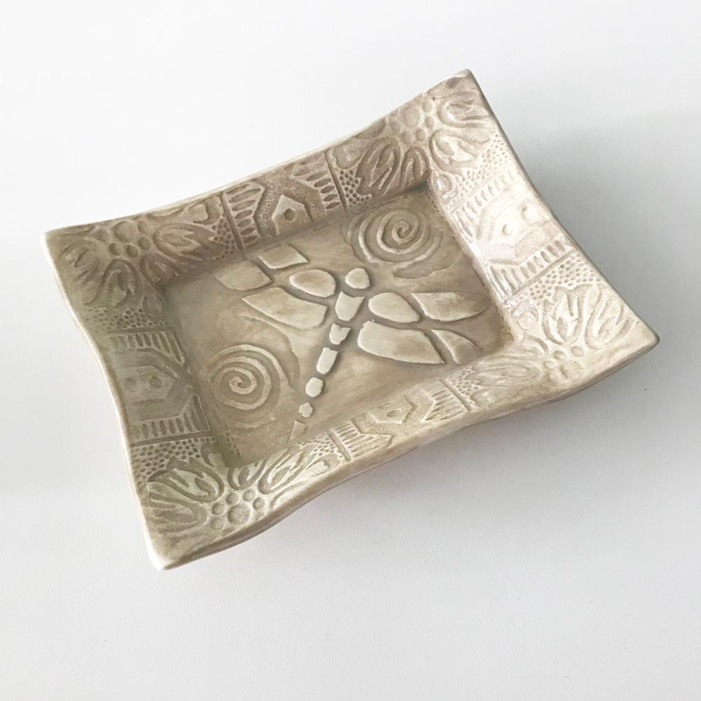 Lorraine Oerth ceramic tray with dragonfly design.