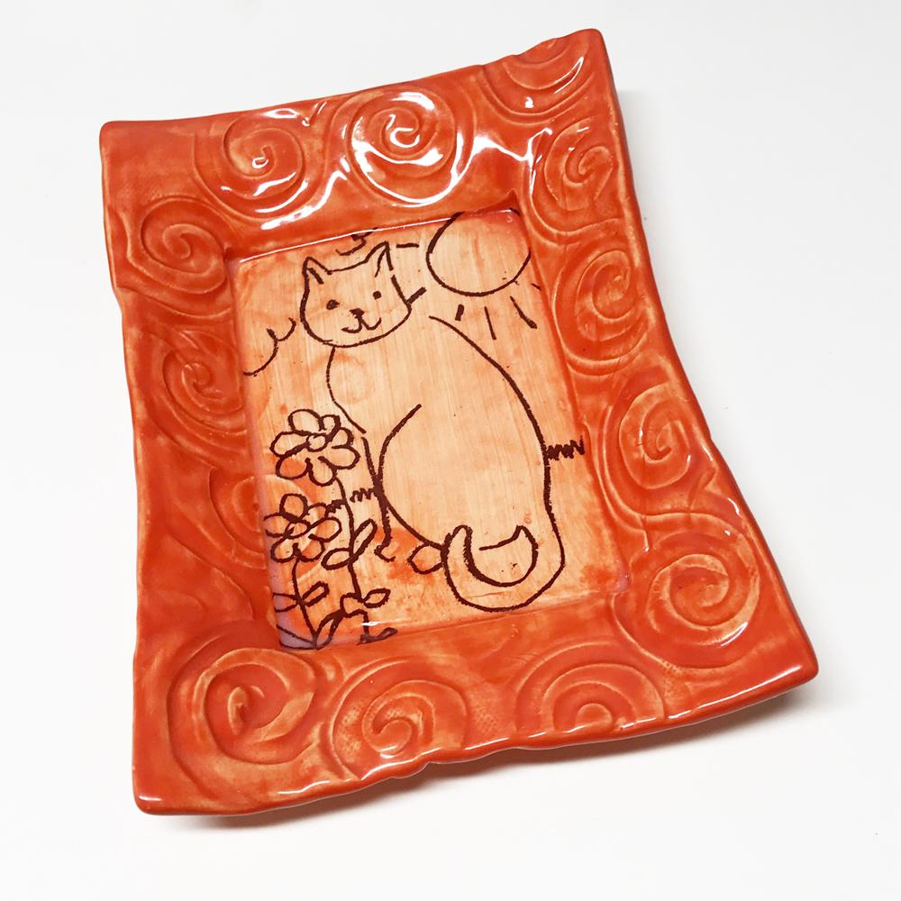 Tray - Cat in the Sun Design - coral glaze