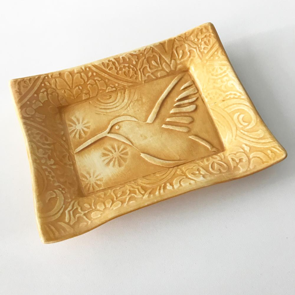 Ceramic tray Hummingbird design in folk art style.