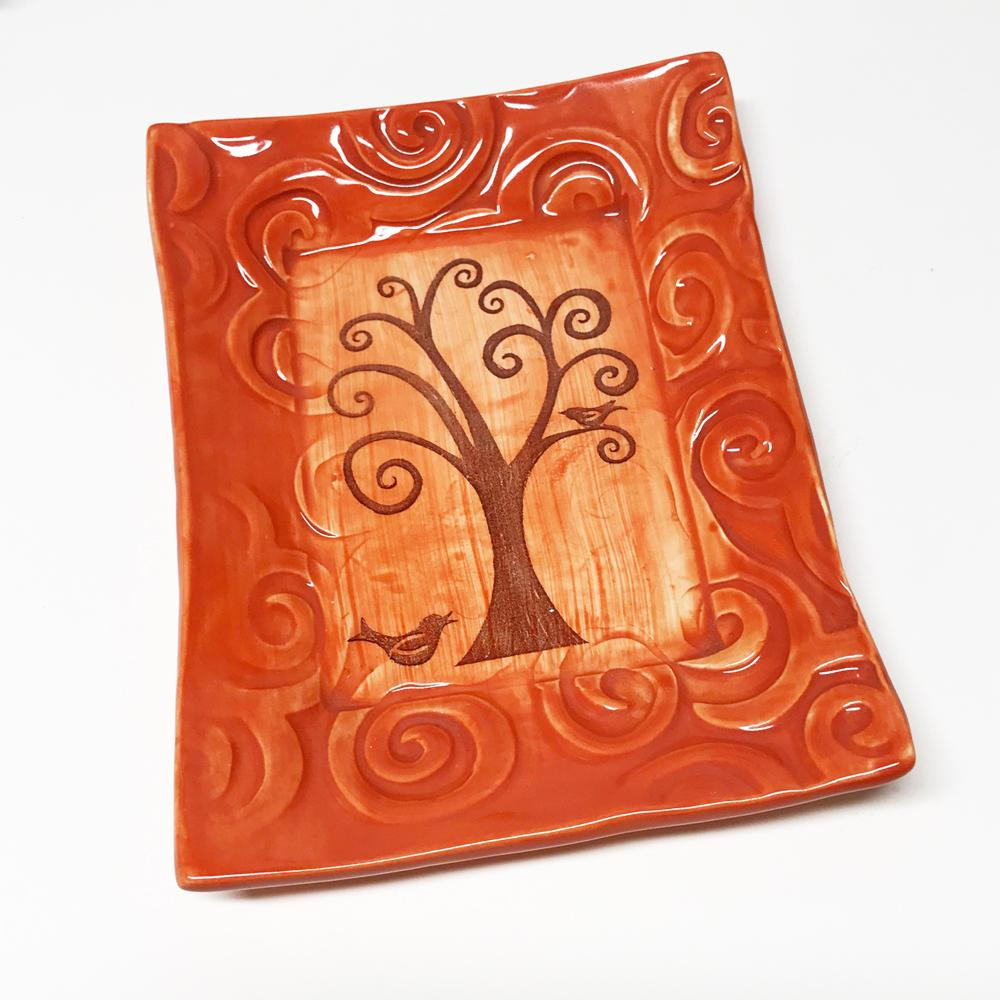 Tray Tree of Life Coral Glaze by Lorraine Oerth
