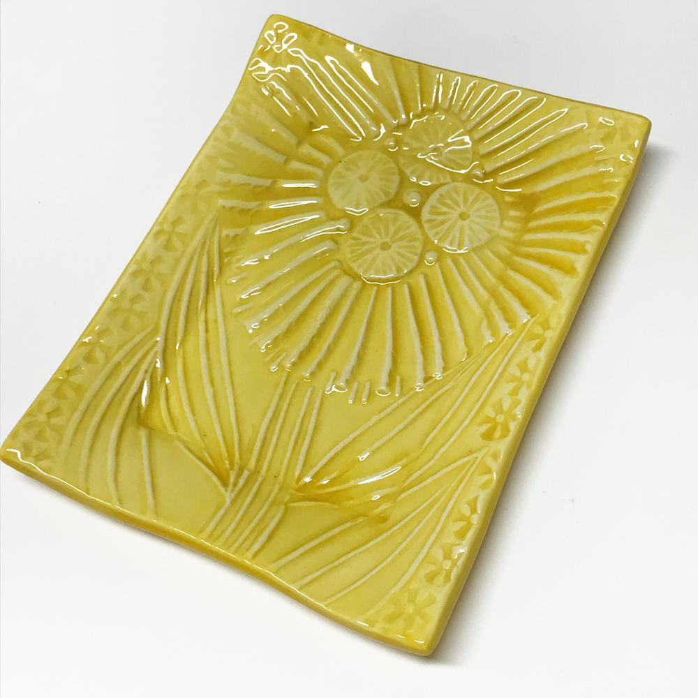Handmade ceramic tray by Lorraine Oerth Water Lily Design