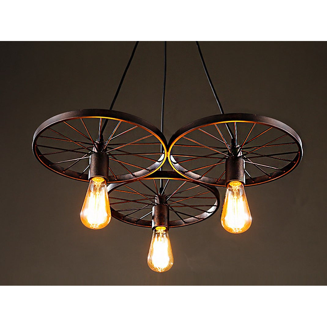3-light Antique Bronze Edison Chandelier
