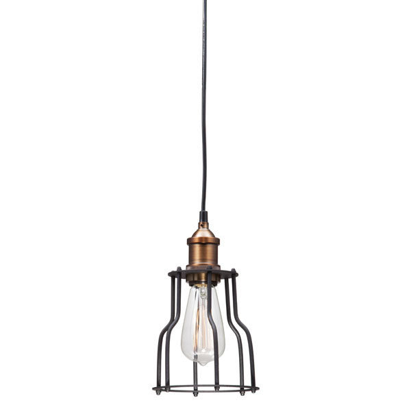 "5.9"" X 5.9"" X 10"" Black And Copper Metal Ceiling Lamp"