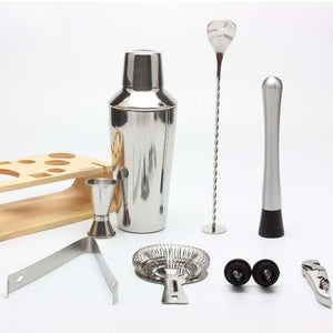 10-Piece Bar Tool Set with Stylish Bamboo Stand Home Bartending Kit and Cocktail Shaker Set For Awesome Drink Mixing Experience