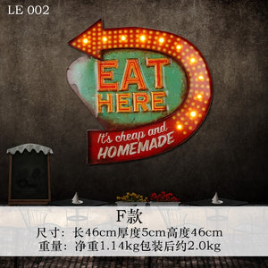 "Industrial LED ""Eat Here"" Retro Wall Art"