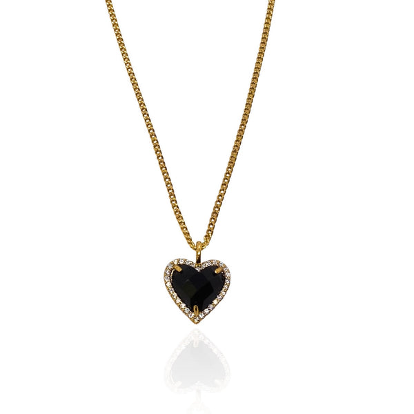 Medusa Gold Filled Black Heart Pendant