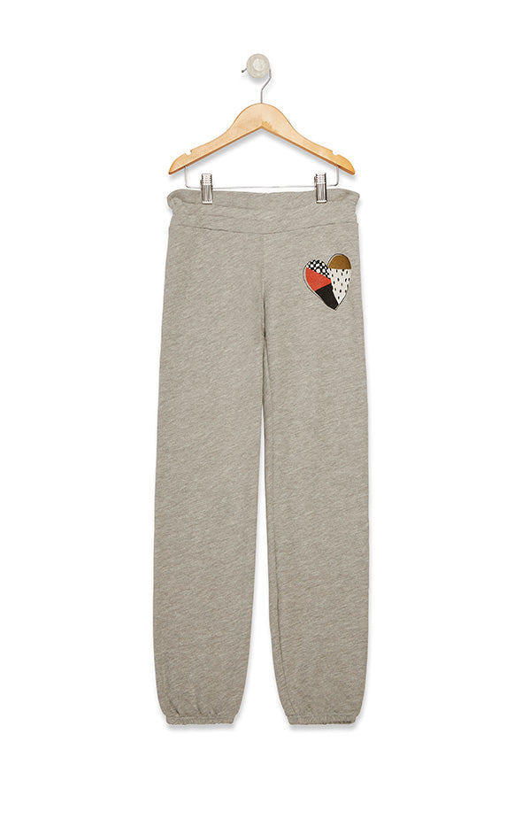 Kids Malibu Sweats Patchwork Heart  | Heather