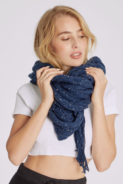 At Brunch Blanket Scarf | Fleckled Navy