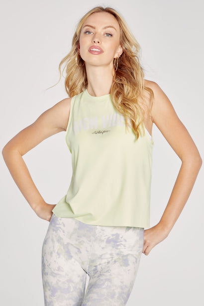 Vibes Crop Tank | Shadow Lime