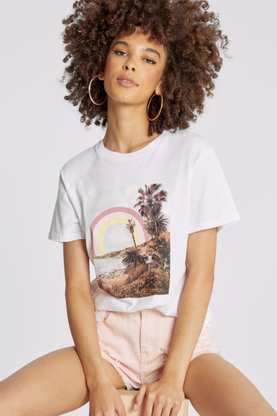 Rainbow Coast Keke Tee | Clean White