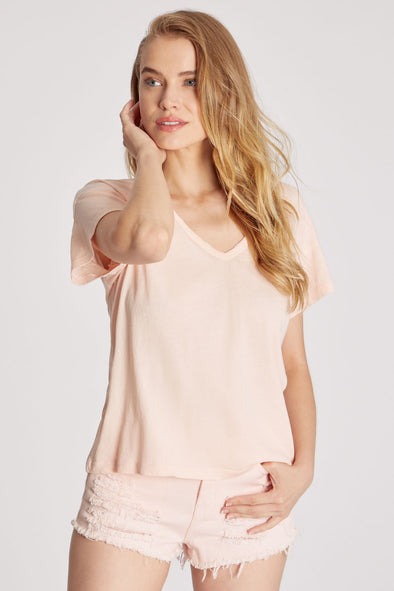 Chrissy V-Neck Tee | Pink Salt