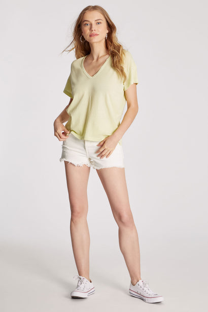 Chrissy V-Neck Tee | Shadow Lime