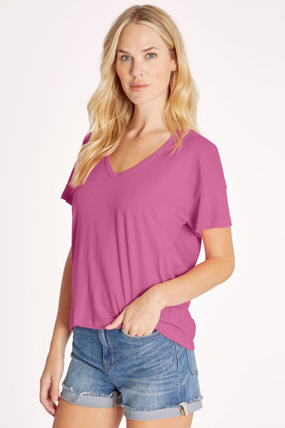 Chrissy V-Neck Tee | Magenta Purple