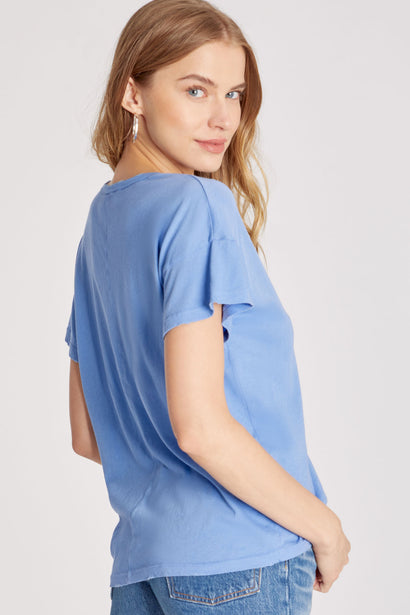 Chrissy V-Neck Tee | Wedgewood
