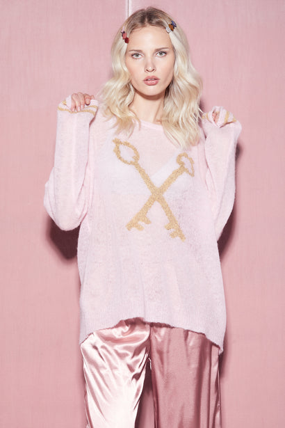 Crossed Keys Lew Sweater | Carnation