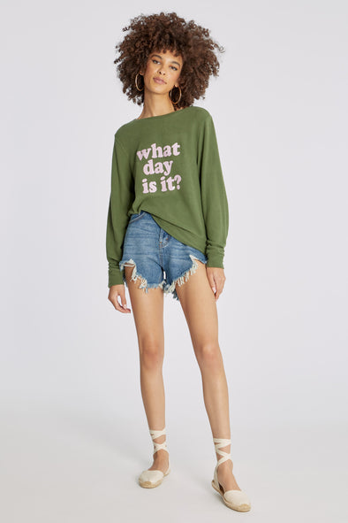 What Day Is It Baggy Beach Jumper | Olive