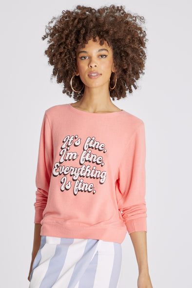 Everything Is Fine Baggy Beach Jumper | Dusty Coral