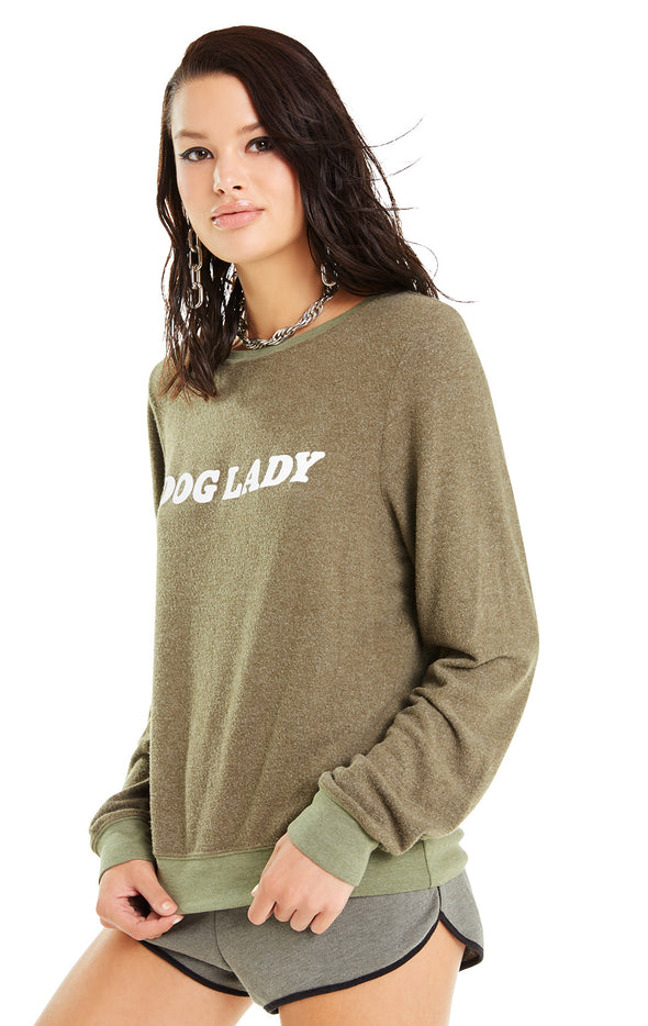 Dog Lady Baggy Beach Jumper | Forest