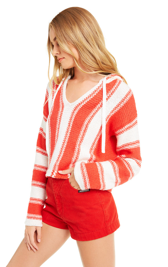 Chromatic Stroke Hermosa Sweater | Vintage Lace/Crimson