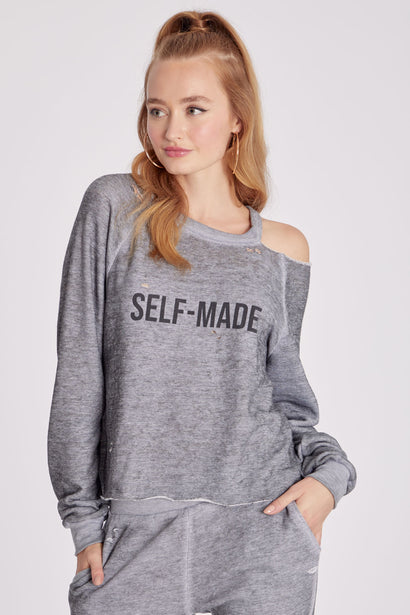 Self Made Slashed Sweatshirt | Heather Grey Burnout