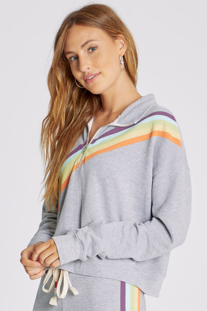Rainbow Stripe Half Zip Sweatshirt | Heather