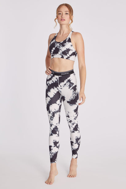 High Waisted Tie Dye 7/8 Legging | Black/White Splatter Dye