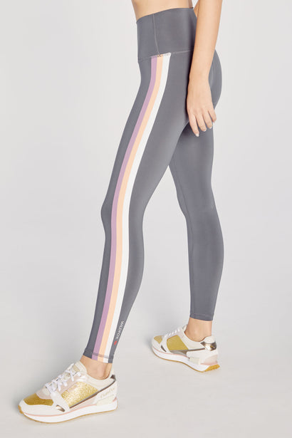 High Waisted 3 Stripe 7/8 Legging | Iron Gate
