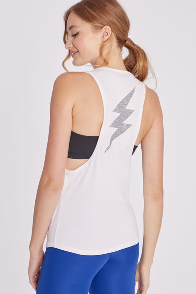 Lightning Muscle Tank | White