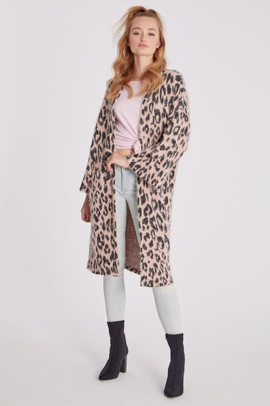 Eyelash Cardigan | Pink Animal