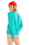 Snackcident Prone Baggy Beach Jumper | Emerald
