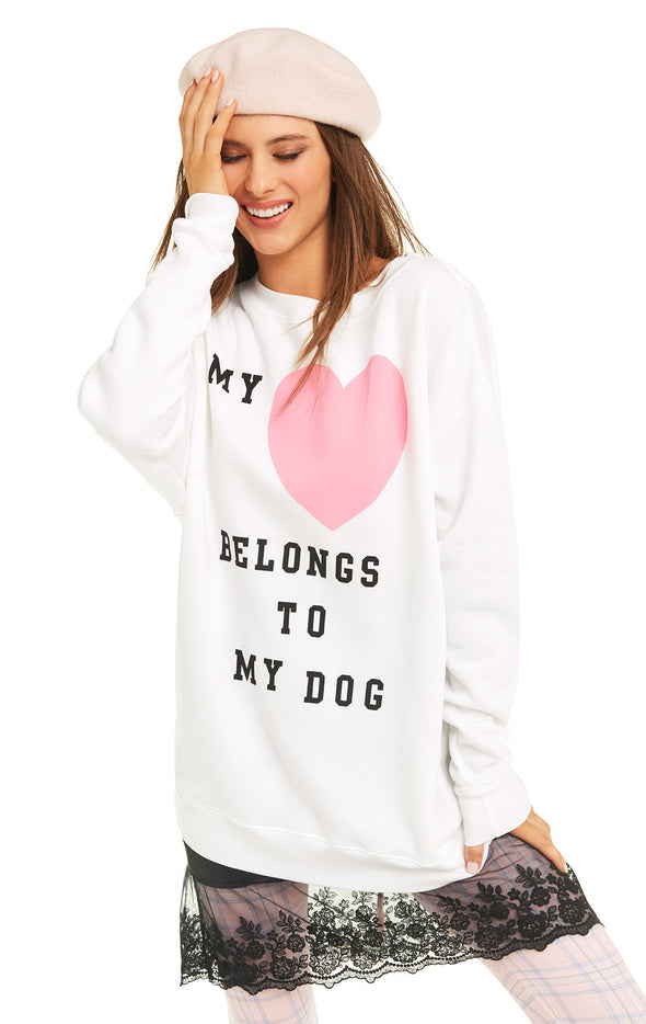 My Heart to My Dog Roadtrip Sweater | Clean White