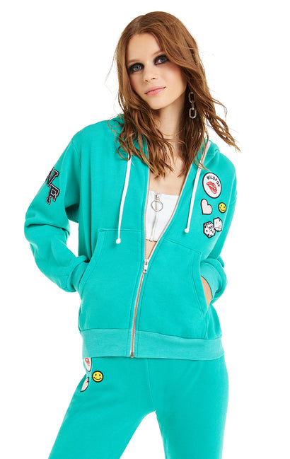 Patches Regan Zip Hoodie | Emerald