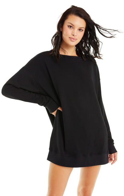 French Terry Roadtrip Sweater | Jet Black-Poly Dye