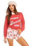 Cyber Dream Girl Baggy Beach Jumper | Scarlet