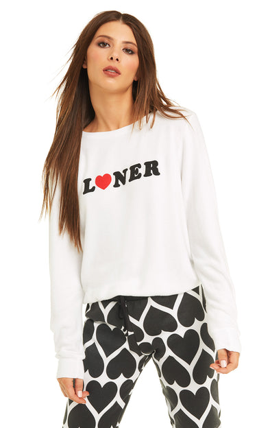 Loner Baggy Beach Jumper | Clean White