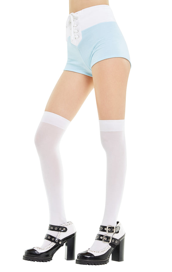 Contrast Mae Shorts | Honolulu Blue Clean White