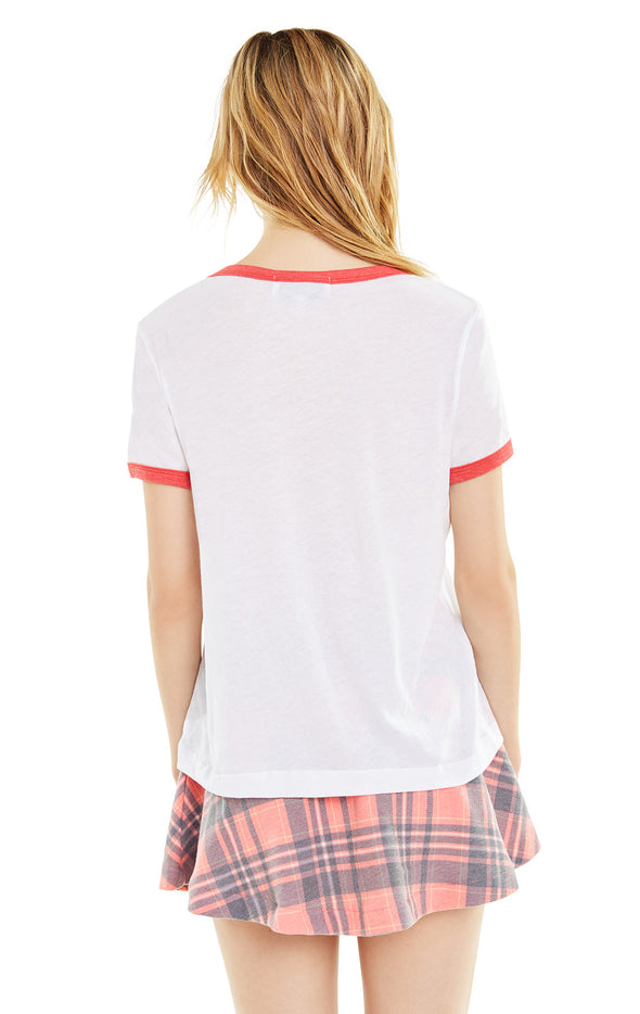 Queen of Heart Johnny Ringer Tee | Clean White Scarlet