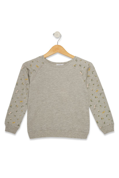 Kids Petite Floral Sommers Sweater  | Heather