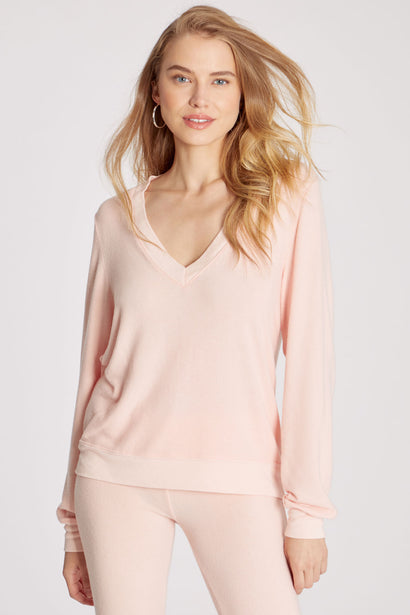 Baggy Beach Jumper Deep V | Pink Salt